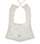 Vintage 1940s White Crocheted Bib with Gold Crocheted Edging and Embroidery