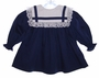 "<img src=""https://p11.secure.hostingprod.com/@grammies-attic.com/ssl/images/blue-sold-1.gif""> Bryan Navy Blue Baby Dress with White Lace Edged Collar"