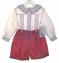"<img src=""http://site.grammies-attic.com/images/blue-sold-1.gif""> NEW Lavender Blue Red Checked Silk Button on Shorts Set with White Shirt"