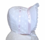 NEW White Bonnet with Hearts and Pink Ribbon Insertion