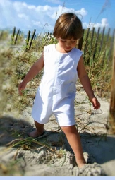 NEW Lavender Blue White Linen Shortall with Back Belt (CC08121)