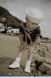 NEW C. I. Castro Navy Button On Sailor Suit for Toddler Boys (CC0401NT) and Classic White Dixie Cup Sailor Hat for Babies, Toddlers and Children (SS04126)