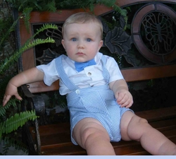 NEW Good Lad Eton Style Blue and White Seersucker Shorts Suit Set (CC0690)