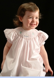 NEW Petit Ami Pink Bishop Smocked Dress with Birthday Embroidery (CR07191)