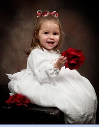 NEW Will'Beth White Voile Smocked Dress with Pintucks, Lace Insertion, and Red Rosebuds for Toddlers (CC05322T)