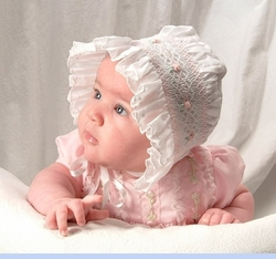 NEW Will'Beth White Smocked Baby Bonnet with Pink Embroidered Flowers (BB05218)