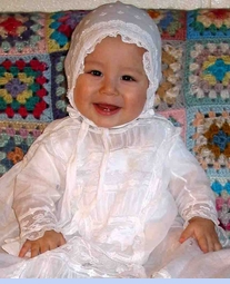 <strong>Baby Dylan in Heirloom 1800s Christening Gown and Bonnet</strong>