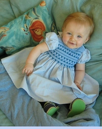 Feltman Brothers Blue Striped Smocked Baby Dress (CC0512)