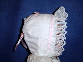 "<img src=""https://p11.secure.hostingprod.com/@grammies-attic.com/ssl/images/blue-sold-1.gif""> NEW White Batiste Bonnet Trimmed with Lace and Pink Ribbon"