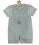 NEW Sarah Louise Blue Linen Blend Shortall with Striped Shirt and Boat Embroidery