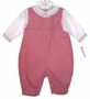 """<img src=""""https://p11.secure.hostingprod.com/@grammies-attic.com/ssl/images/blue-sold-1.gif""""> NEW Petit Ami Red Checked Romper with White Embroidered Collar"""