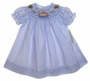 "<img src=""https://p11.secure.hostingprod.com/@grammies-attic.com/ssl/images/blue-sold-1.gif""> NEW Be Mine Blue Striped Bishop Smocked Dress with Embroidered Noahs Ark"