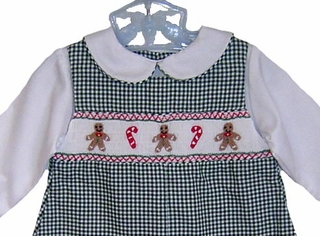 069ba3e7d NEW Petit Ami Green Checked Smocked Romper with Gingerbread Embroidery