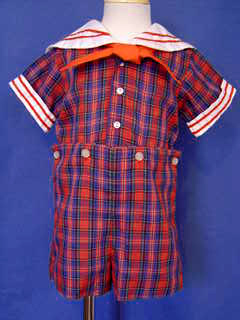 "<img src=""https://p11.secure.hostingprod.com/@grammies-attic.com/ssl/images/blue-sold-1.gif""> Boy's Red Plaid C.I. Castro Sailor Button On Shorts Set"