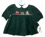 """<img src=""""https://p11.secure.hostingprod.com/@grammies-attic.com/ssl/images/blue-sold-1.gif""""> NEW Carriage Boutiques Green Corduroy Smocked Toddler Dress with Holiday Embroidery"""