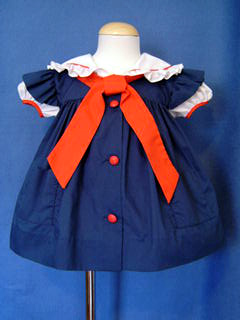 """<img src=""""https://p11.secure.hostingprod.com/@grammies-attic.com/ssl/images/blue-sold-1.gif""""> Bryan Navy Blue Sailor Dress with Pinafore Style Sleeves for Baby Girls"""