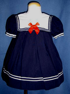 "<img src=""https://p11.secure.hostingprod.com/@grammies-attic.com/ssl/images/blue-sold-1.gif""> Classic Navy Blue Sailor Dress with Red Satin Bow for Baby Girls"