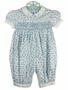 "<img src=""https://p11.secure.hostingprod.com/@grammies-attic.com/ssl/images/blue-sold-1.gif""> NEW Feltman Brothers Blue Flowered Smocked Bubble with White Embroidered Collar"