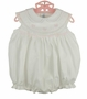 "<img src=""https://p11.secure.hostingprod.com/@grammies-attic.com/ssl/images/blue-sold-1.gif""> NEW Feltman Brothers White Sleeveless Smocked Bubble with Pink Embroidery"