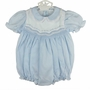"<img src=""https://p11.secure.hostingprod.com/@grammies-attic.com/ssl/images/blue-sold-1.gif""> NEW Feltman Brothers Blue Smocked Bubble with Embroidery and Lace Trim"