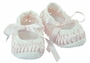 NEW Will'Beth Vintage Style Pink and White Mary Jane Booties with Woven Ribbon