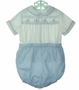 "<img src=""https://p11.secure.hostingprod.com/@grammies-attic.com/ssl/images/blue-sold-1.gif""> Vintage Royal Style Blue and White Button On Shorts Set with Embroidered Bunnies"