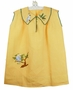 Vintage 1920s Yellow Dress with Embroidered Parrot