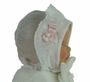 Victorian White Lawn Bonnet with Smocked Ruffle and Pink Bow
