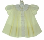 Vintage 1960s Feltman Brothers Yellow Pleated Baby Dress with White Trim