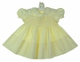 Heirloom 1940s Feltman Brothers Yellow Smocked Dress with Tiny Bows