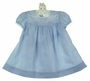 Heirloom 1940s Nannette Blue Dotted Swiss Smocked Dress with Lace Trim