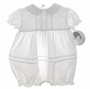 "<img src=""https://p11.secure.hostingprod.com/@grammies-attic.com/ssl/images/blue-sold-1.gif""> NEW Sarah Louise White Baby Bubble with Pintucks and Matching Bonnet"