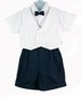 NEW Will'Beth Navy and White Three Piece Shorts Set with Bowtie