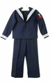 Vintage Navy Long Sleeved Sailor Suit with White Braid Trim