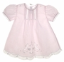 NEW Feltman Brothers Pink Batiste Baby Dress with Embroidery and Lace Insertion