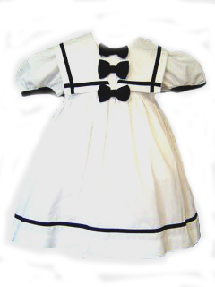 """<img src=""""https://p11.secure.hostingprod.com/@grammies-attic.com/ssl/images/blue-sold-1.gif"""">  Lad White Sailor Dress with Navy Bows for Toddler Girls"""
