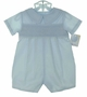 NEW Petit Ami Blue Smocked Romper with Fagoted Collar and Matching Hat