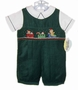 "<img src=""https://p11.secure.hostingprod.com/@grammies-attic.com/ssl/images/blue-sold-1.gif"">NEW Carriage Boutiques Green Corduroy Smocked Shortall Set with Holiday Embroidery"