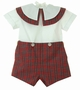 "<img src=""https://p11.secure.hostingprod.com/@grammies-attic.com/ssl/images/blue-sold-1.gif""> NEW Victorian Heirlooms Red Plaid Button on Shorts Set with Plaid Trimmed Portrait Collar"