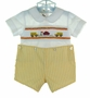 "<img src=""https://p11.secure.hostingprod.com/@grammies-attic.com/ssl/images/blue-sold-1.gif""> NEW Rosalina Yellow Checked Button On Shorts Set with Schoolbus Embroidery"