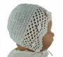 """<img src=""""http://site.grammies-attic.com/images/blue-sold-1.gif""""> NEW Sarah Louise White Crocheted Bonnet with Rosebud Trim"""