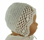 """<img src=""""http://site.grammies-attic.com/images/blue-sold-1.gif""""> NEW Sarah Louise Pale Ivory Crocheted Bonnet with Rosebud Trim"""