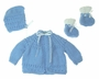 "<img src=""https://p11.secure.hostingprod.com/@grammies-attic.com/ssl/images/blue-sold-1.gif""> NEW Blue Hand Knit Baby Sweater, Hat, and Booties Set"