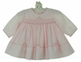 NEW Sarah Louise Pale Pink Smocked Dress with Pink Rosebuds and Ribbons