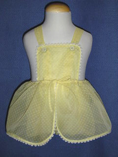 "<img src=""https://p11.secure.hostingprod.com/@grammies-attic.com/ssl/images/blue-sold-1.gif""> Vintage 1950s Yellow Organdy Pinafore Style Sunsuit"