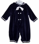 "<img src=""https://p11.secure.hostingprod.com/@grammies-attic.com/ssl/images/blue-sold-1.gif""> NEW Good Lad Navy Velour Sailor Romper with Matching Beret"