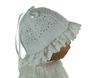 NEW White Eyelet Sunhat with Hearts and Eyelet Ruffle