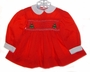 Polly Flinders Red Long Sleeved Smocked Dress with Christmas Tree Embroidery