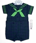 "<img src=""https://p11.secure.hostingprod.com/@grammies-attic.com/ssl/images/blue-sold-1.gif""> NEW C. I. Castro Navy and Green Plaid Button On Sailor Suit for Baby Boys"