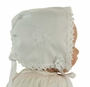 "<img src=""http://site.grammies-attic.com/images/blue-sold-1.gif"">  NEW White Keepsake Hanky Bonnet with Shamrock Embroidery and Cluny Lace Trim"